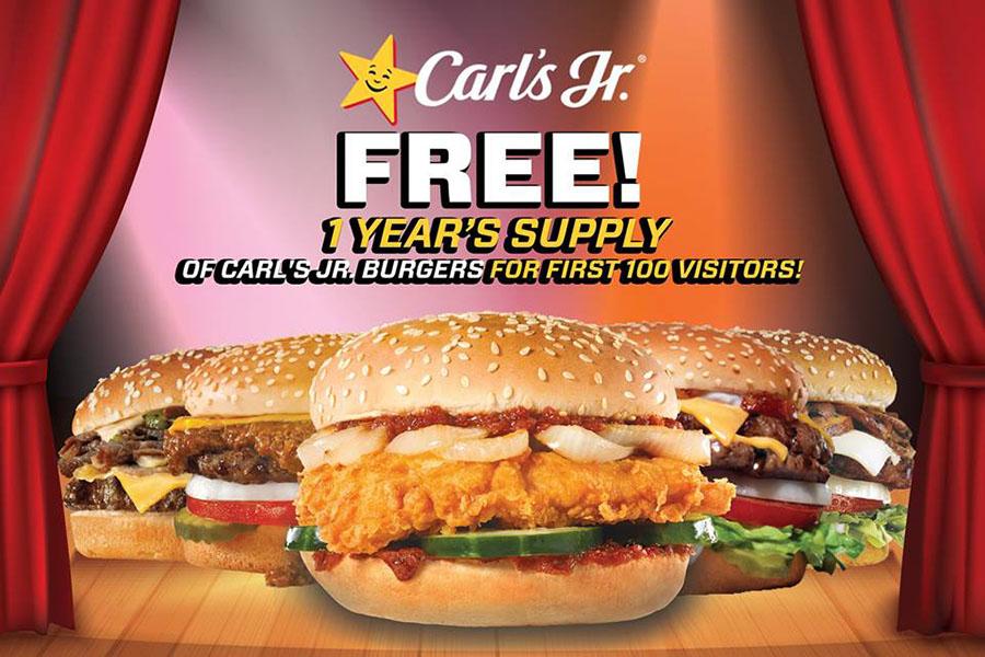 Burger percuma selama setahun di Carl's Jr.